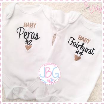 Personalised Unisex Baby number vest