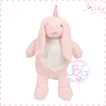 Bunny Backpack in soft fluffy Pink -Personalised