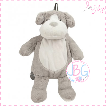 Dog Puppy Backpack in Soft Fluffy Grey - Personalised