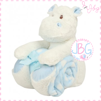 Hippo and blanket set in blue - personalised