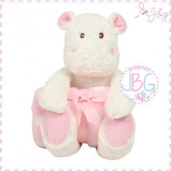 Hippo and blanket set in pink - personalised
