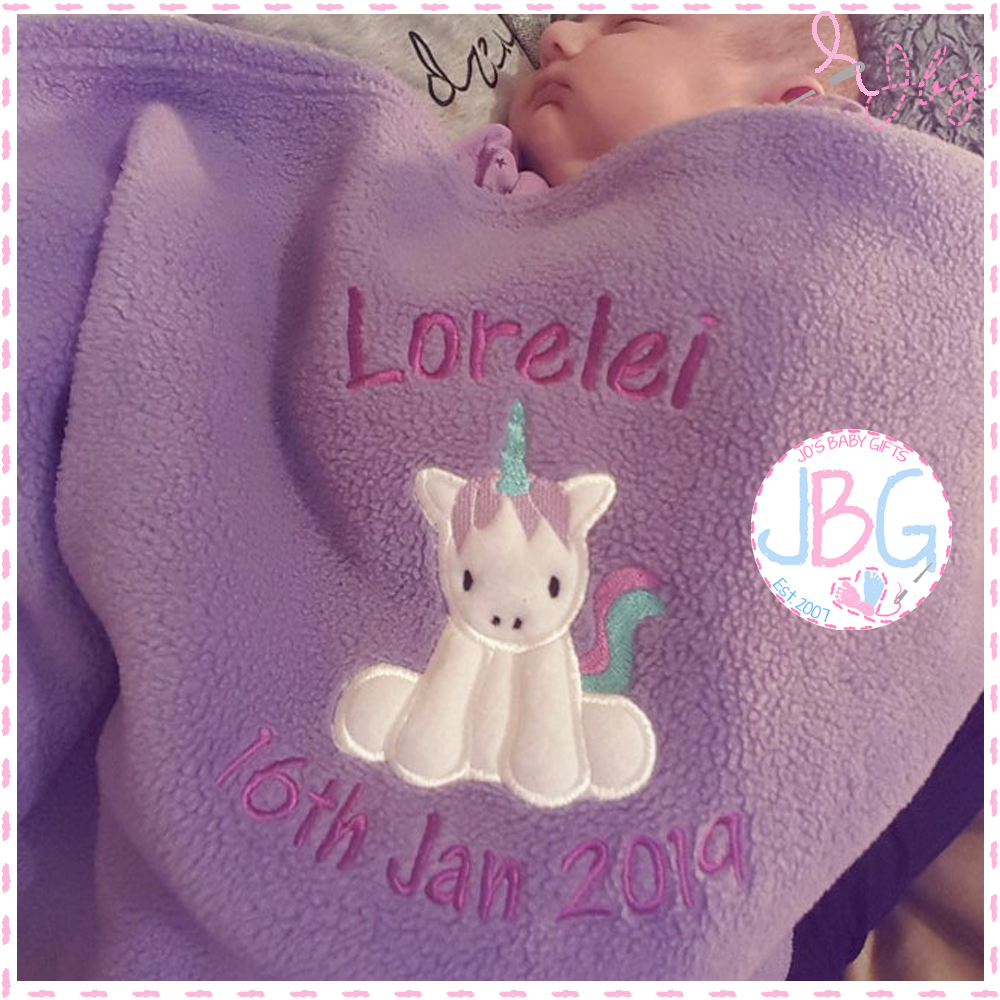 Personalised Baby Unicorn Blanket