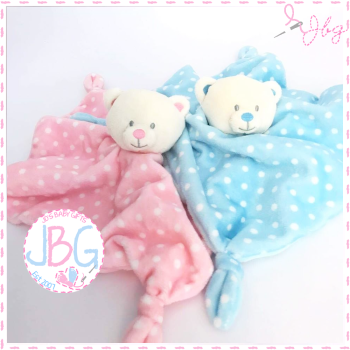 Spotty Teddy Comforter - Personalised
