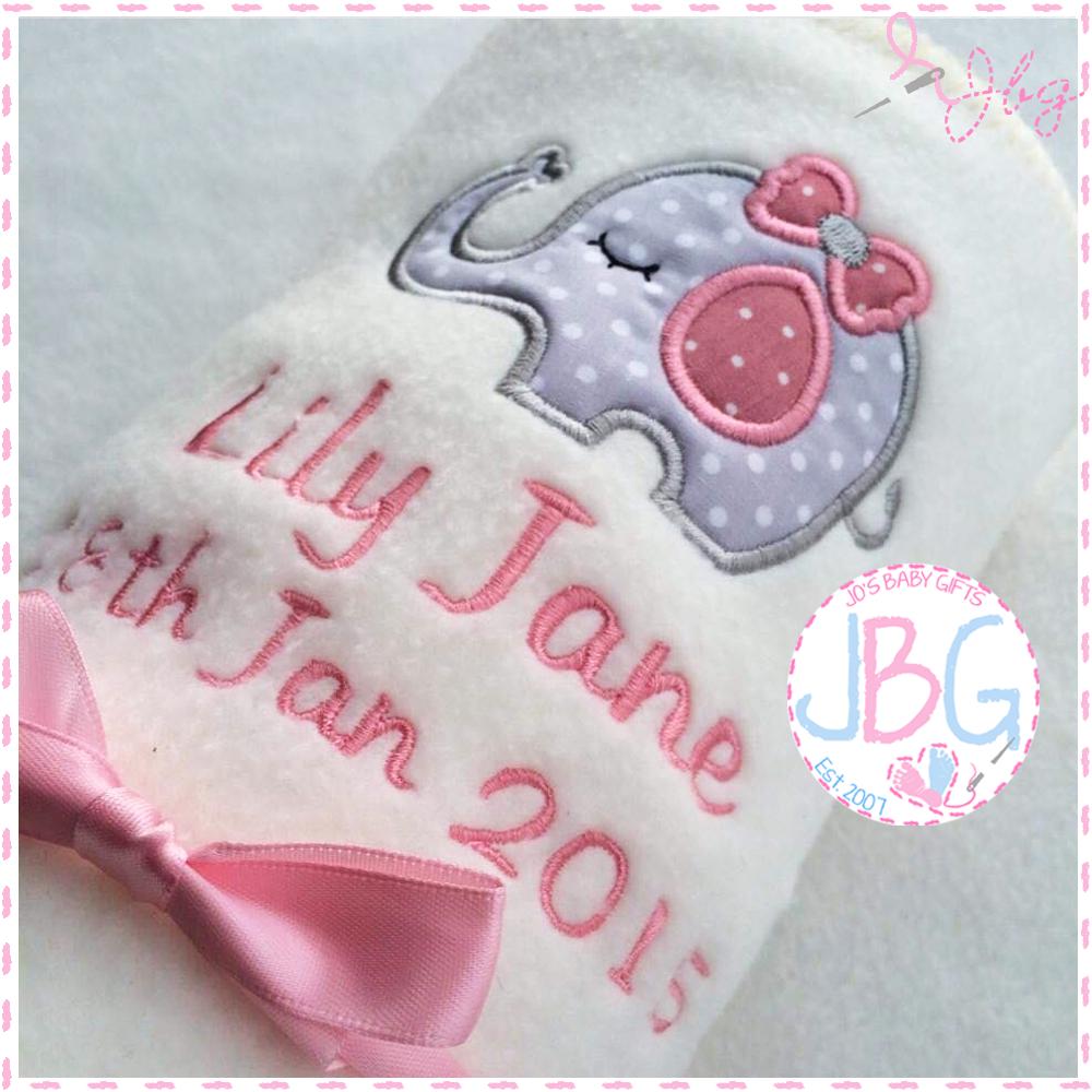 Personalised Baby Elephant Blanket