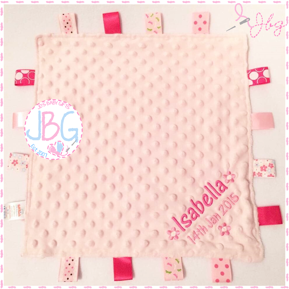 Pink Personalised Taggy Comforter