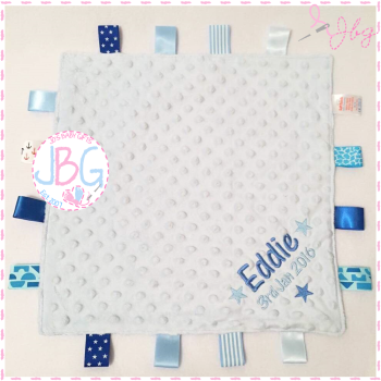 Blue Personalised Taggy Comforter