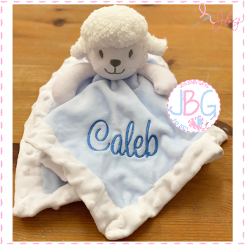 Little Lamb Personalised Comforter in Blue