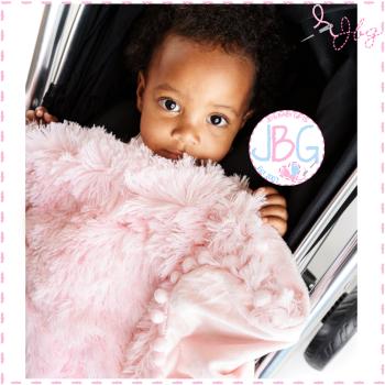 Fluffy Luxury Pink PomPom - Personalised Blanket