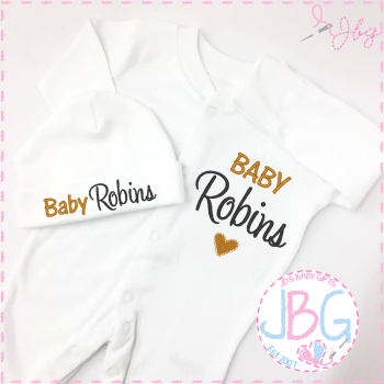 Sleepsuit & Baby Hat set Personalised