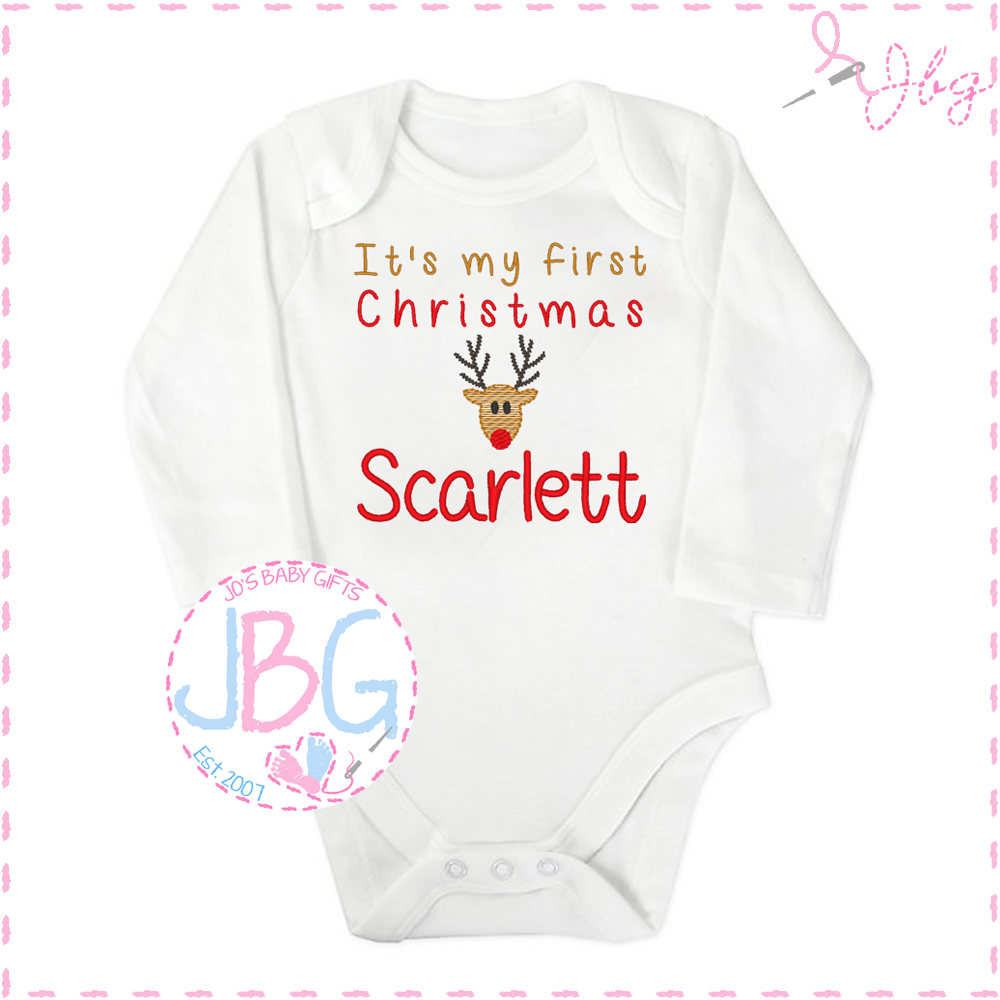Personalised First Christmas Penguin Vest