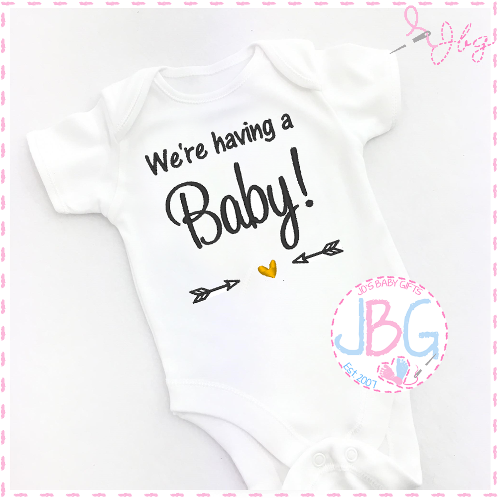 Personalised Rainbow baby vest announcement