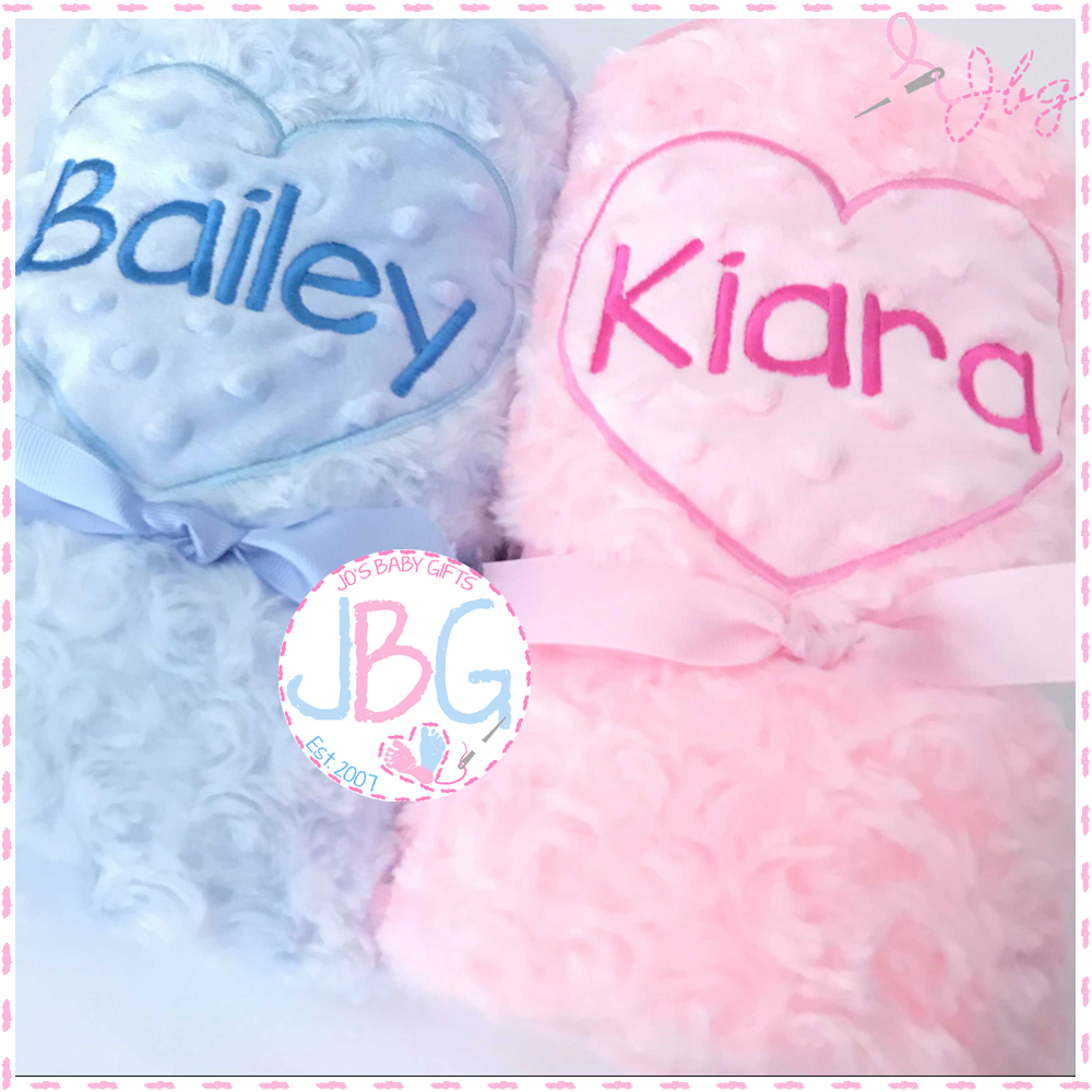 Personalised pink or blue heart blanket
