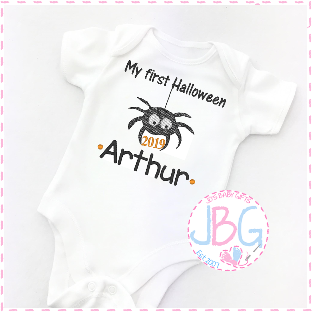 Personalised Spider Vest For Babies 1st Halloween