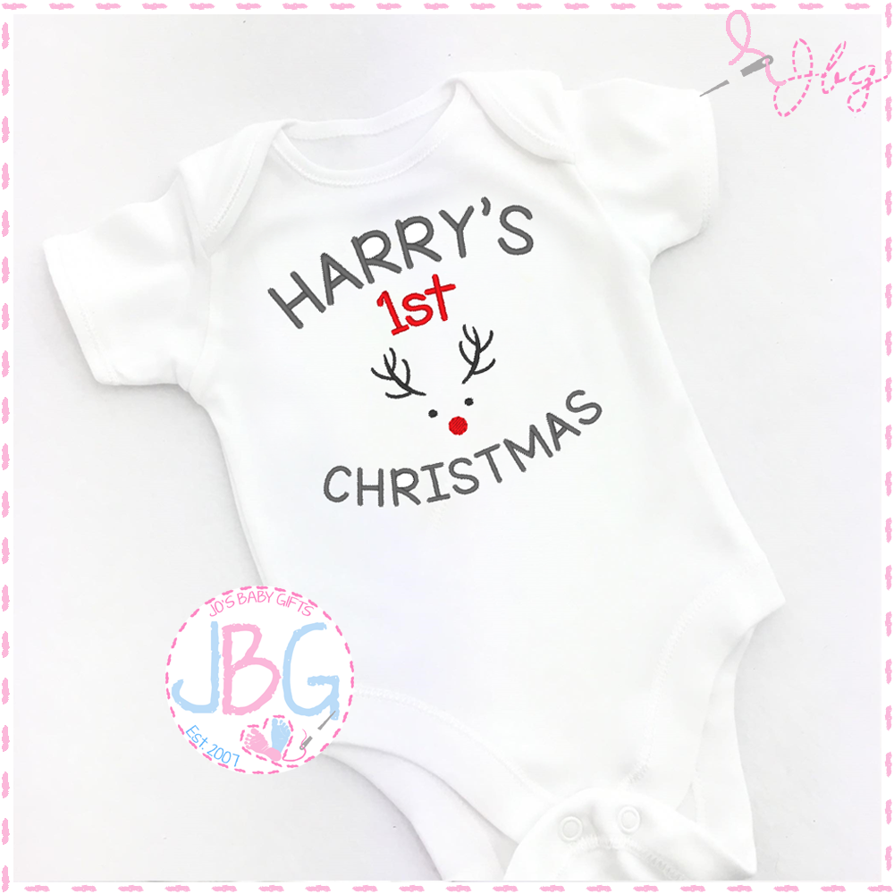 Personalised First Christmas Reindeer Vest