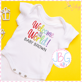 A Personalised Rainbow Baby Unisex Vest -Welcome to the world