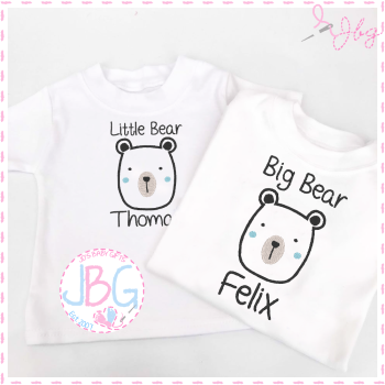 Bear Personalised T-shirts - Little Bear & Big Bear Set