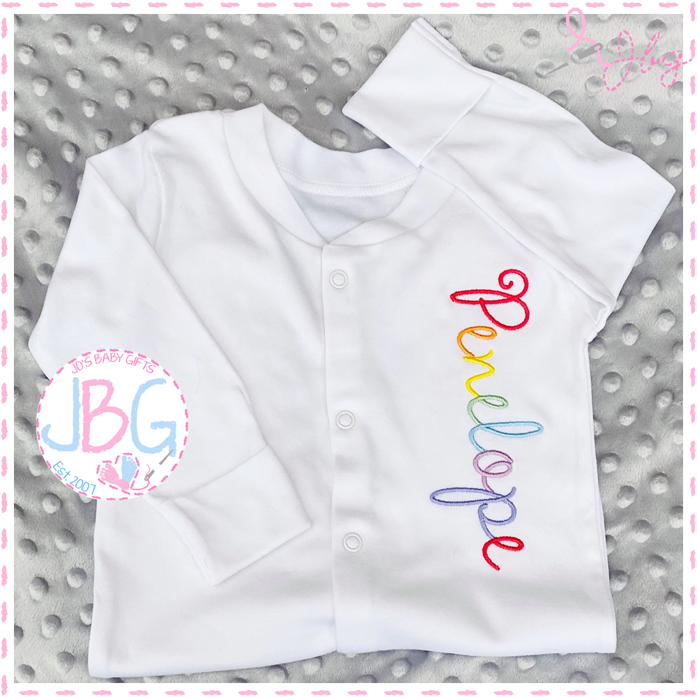 Pastel Rainbow Embroidered Sleepsuit