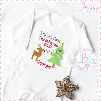 1st Christmas Rudolf & Tree Rompersuit