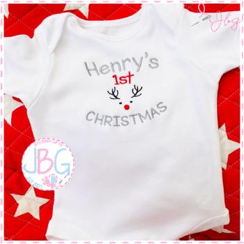 Personalised First Christmas Reindeer Vest or sleepsuit