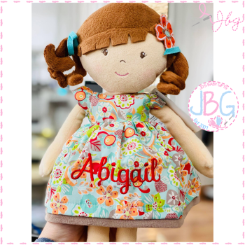 Personalised Rag Doll- Flower Girl Orange
