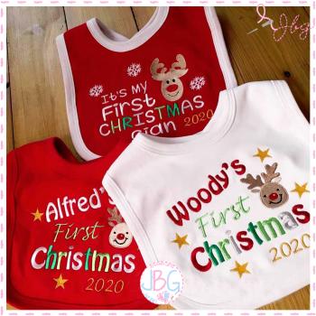 Personalised christmas baby bib - 2020