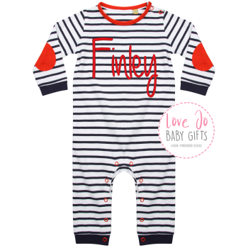 Baby Stripy Rompersuit Personalised