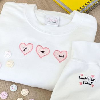 You are loved - Embroidered Heart Sweater