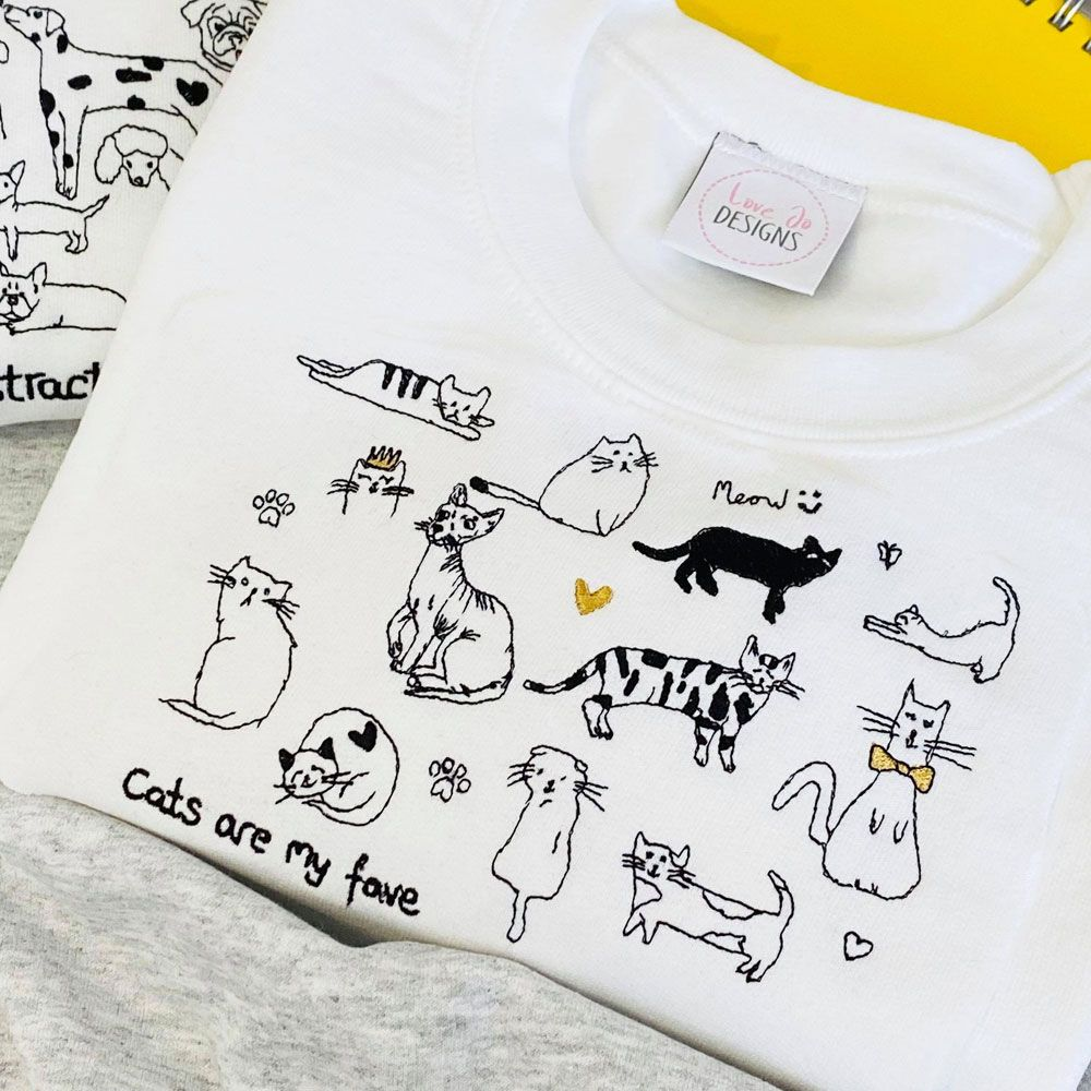 Cats are my fave - Embroidered sweatshirt
