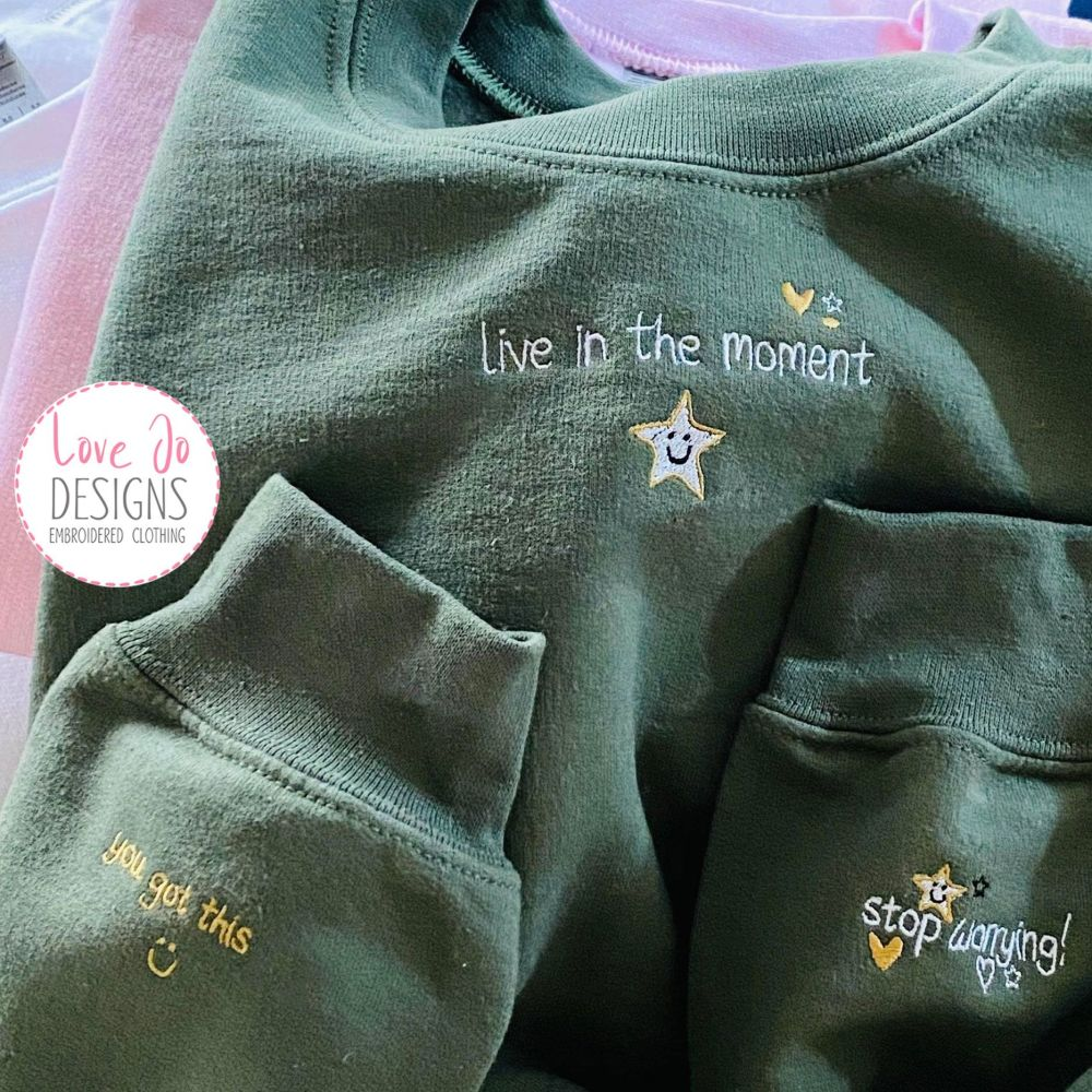 Embroidered Sweater, Custom Embroidered Sweatshirt,  Cosy Jumper