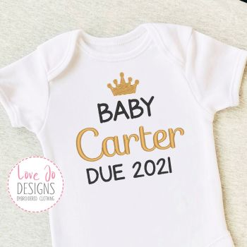 Birth Announcement Embroidered Unisex Baby Crown Vest