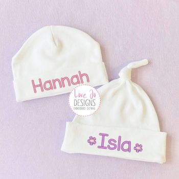 Embroidered personalised Baby Girls Hat
