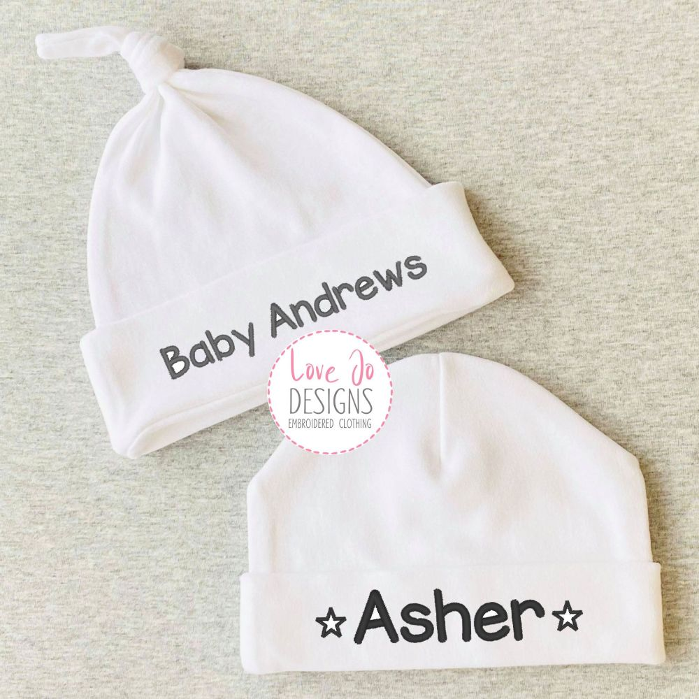 Embroidered personalised Baby Unisex Hat