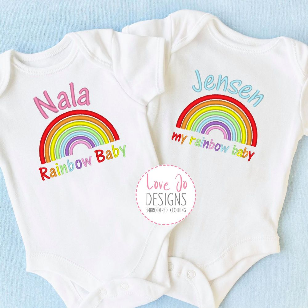 Personalised Rainbow baby vest
