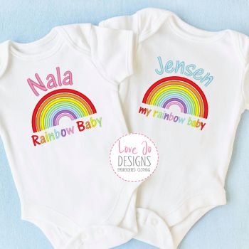 Rainbow Baby Personalised Embroidered Vest