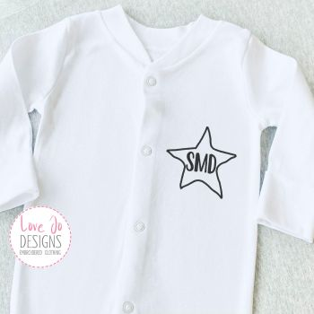 Initials Personalised Baby Embroidered Sleepsuit