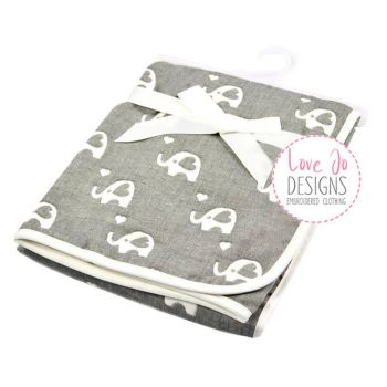 Cotton Elephant White/ Grey Embroidered Baby Blanket