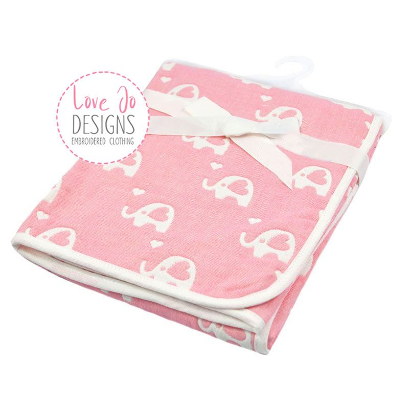 Cotton Elephant White/Pink Embroidered Baby Blanket