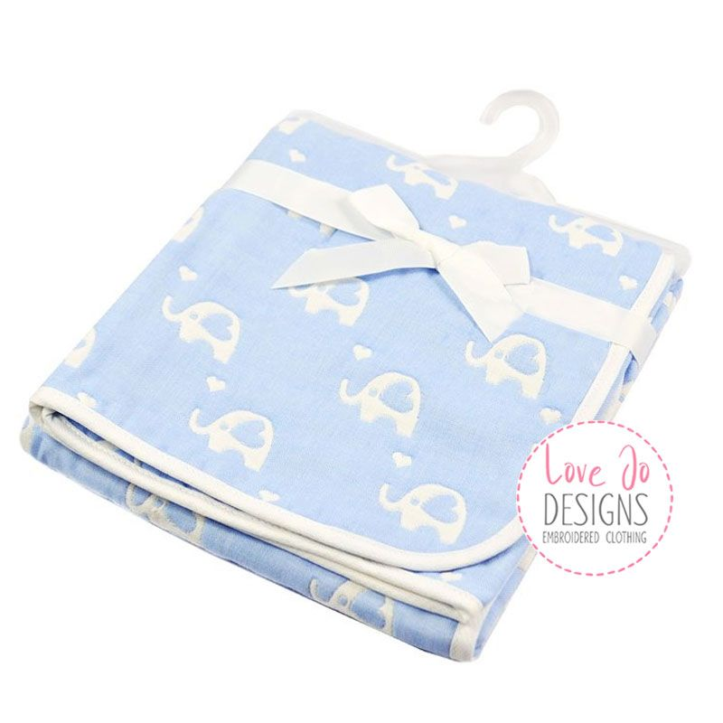 Cotton Elephant White/Blue Embroidered Baby Blanket
