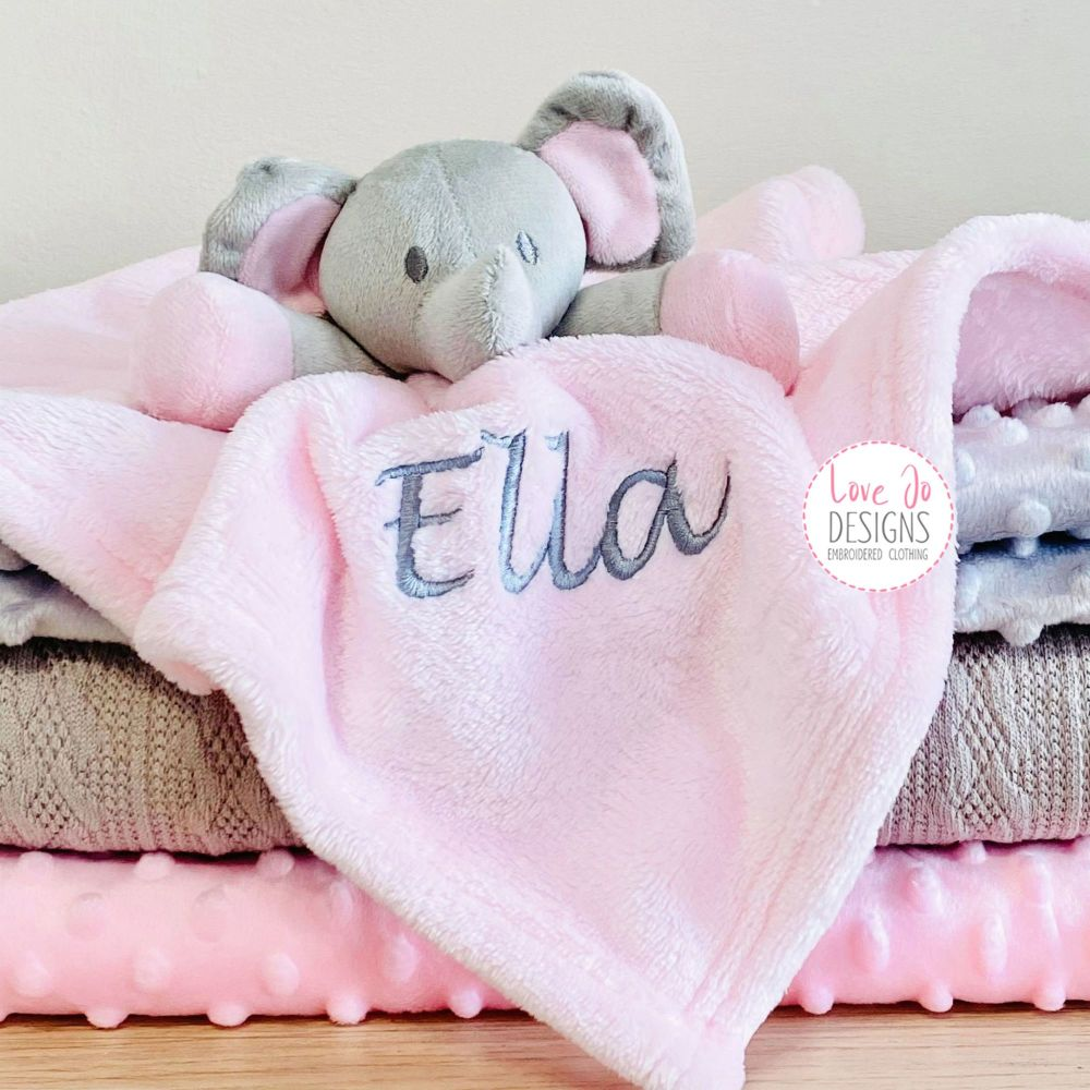 <!-- 133 -->Personalised Elephant Comforter in Pink
