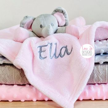 Personalised Elephant Comforter in Pink