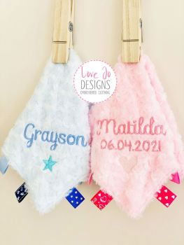 Personalised Fluffy Taggy Comforter in Pink or Blue