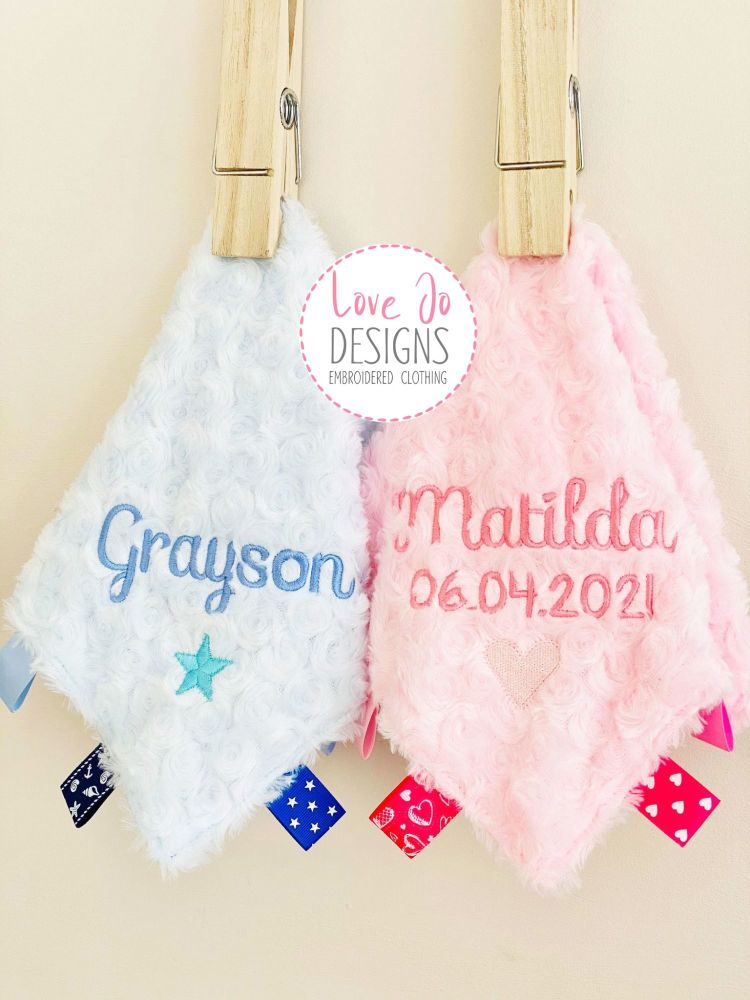 <!-- 130 -->Blue Personalised Fluffy Taggy Comforter