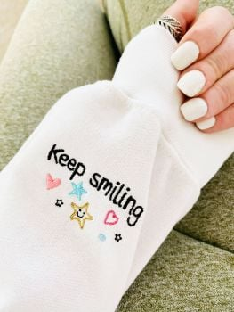 Keep Smiling, You got this Heart -  Embroidered Sweatshirt