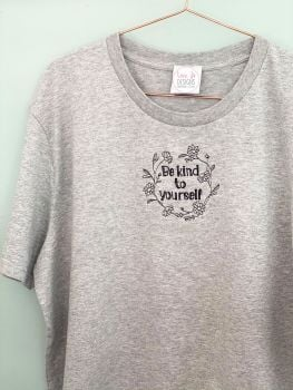 Daisy Kind to yourself Wreath - Organic Embroidered Tee