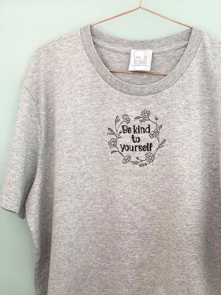 <!-- 001 --> Daisy Kind to yourself Wreath - Organic Embroidered Tee