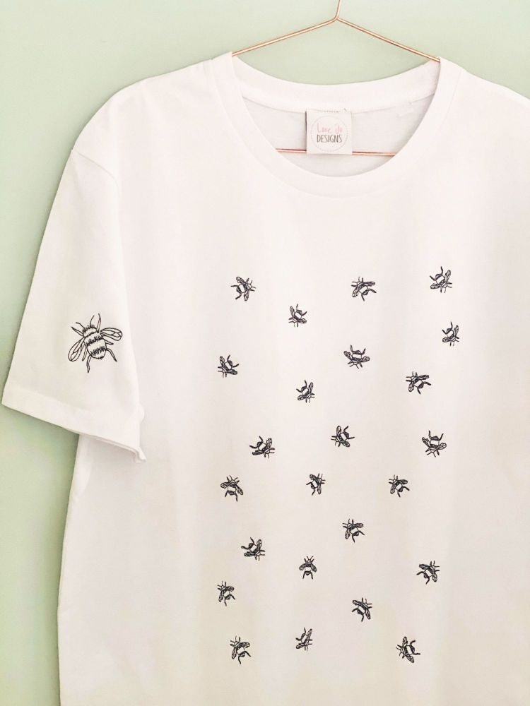 <!-- 002 --> Busy Bee - Organic Embroidered Tee