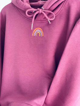 Luxury Organic Hoodie with Stitched embroidered rainbow design