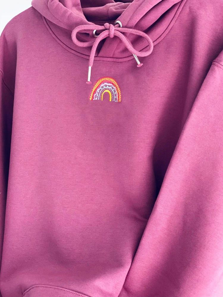 <!-- 001 -->  Luxury Organic Hoodie with hand drawn embroidered Heart