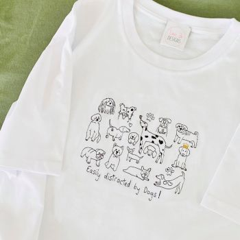 Easily Distracted by Dogs  - Organic Embroidered Tee