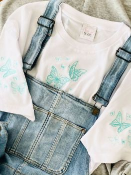 Lots of butterflies  - Organic Embroidered Tee
